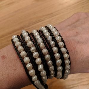 Jewelry - Pearl and leather wrap bracelet